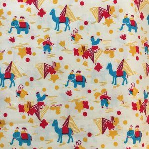 3/$15 Fabric Elephants & Pyramids Red Turquoise